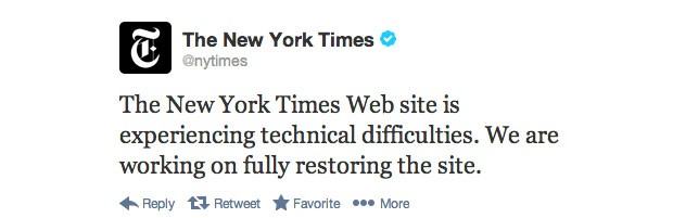 Hackers modifican los datos de dominio de Twitter y tumban el sitio del New York Times