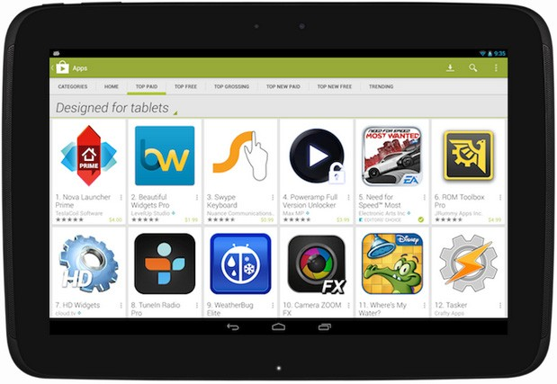 Google Play muestra por fin las apps optimizadas para tablets