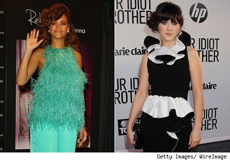 Rihanna y Zooey Deschanel - Moda loca