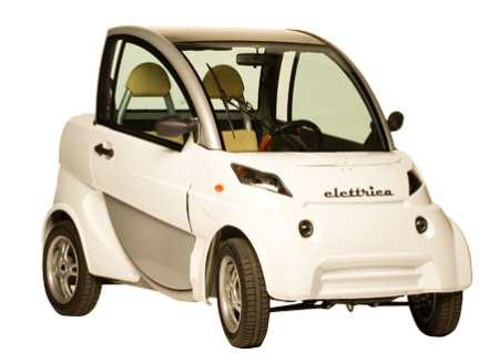 The Elettrica (above) has a top speed 40mph with a range of up to 65 miles (from a 5 hour charge), making it ideal for getting around town.