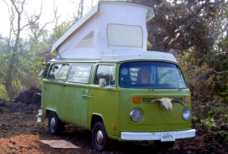 Click above for more shots of Garth, the green VW Camper Van