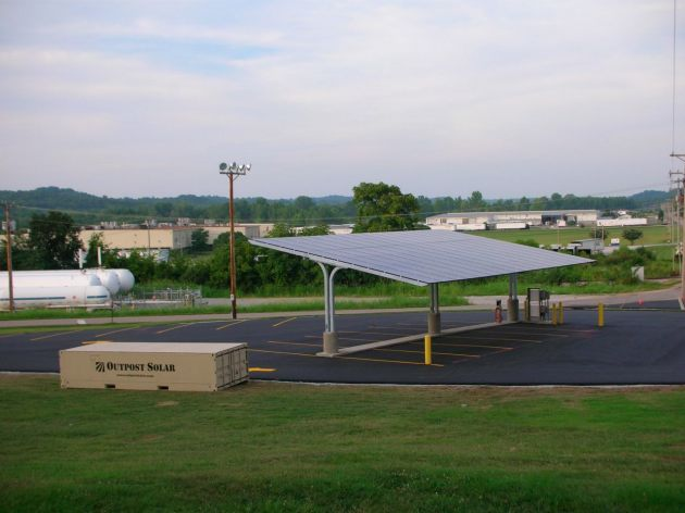 Outpost solar electric charging station