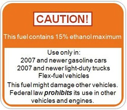 e15 Ethanol warning sticker