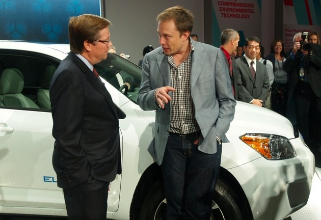 Elon Musk and Jim Lentz with the Toyota RAV4 EV