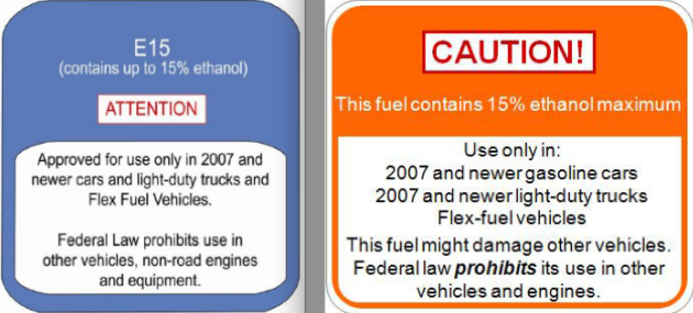 e15 warning labels