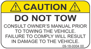 Do not tow warning