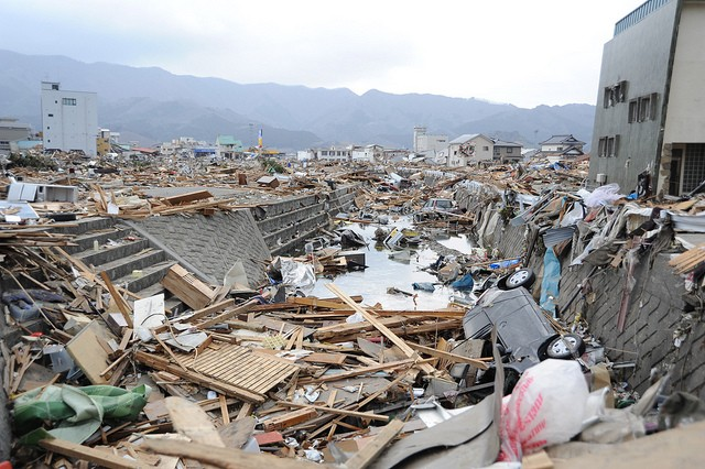 Devastation caused by earthquake in Ofunato, Japan