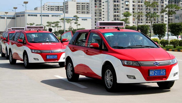 BYD e6 taxis on street in China