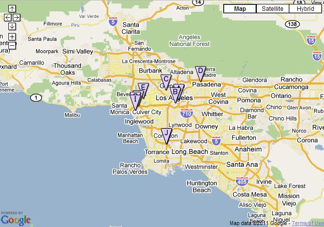 Google Maps show charging stations near Los Angeles, CA