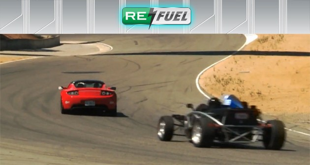 Wrightspeed X1 chases down Tesla Roadster on Laguna Seca at Refuel