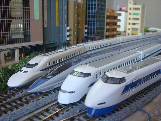 Models of Japan's Maglev trains