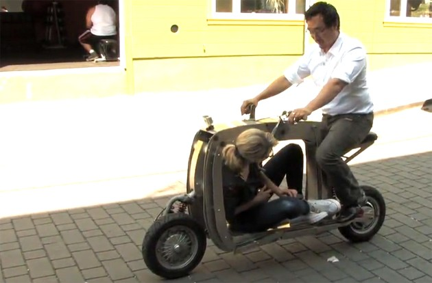 Lit Motors' cargo scooter driven by CEO Daniel Kim
