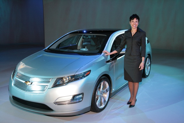 Ann Marie Sastry with Chevy Volt