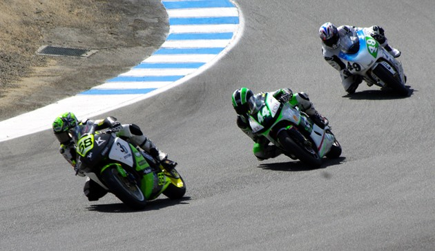Brammo leads CRP Racing and Munch Racing in the corkscrew at Laguna Seca