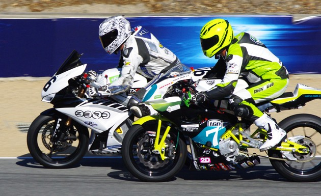 Kenyon Kluge of K Squared Racing passes LGN Racing's Marcelino Manzano on the E-Jarama