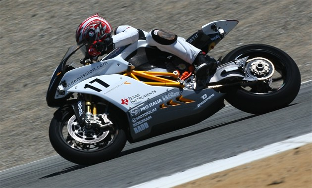 Mission Motors Mission R electric bike racing the clock at Laguna Seca