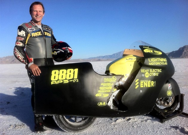 Lightning Motorcycles LSR superbike with rider Paul Thede