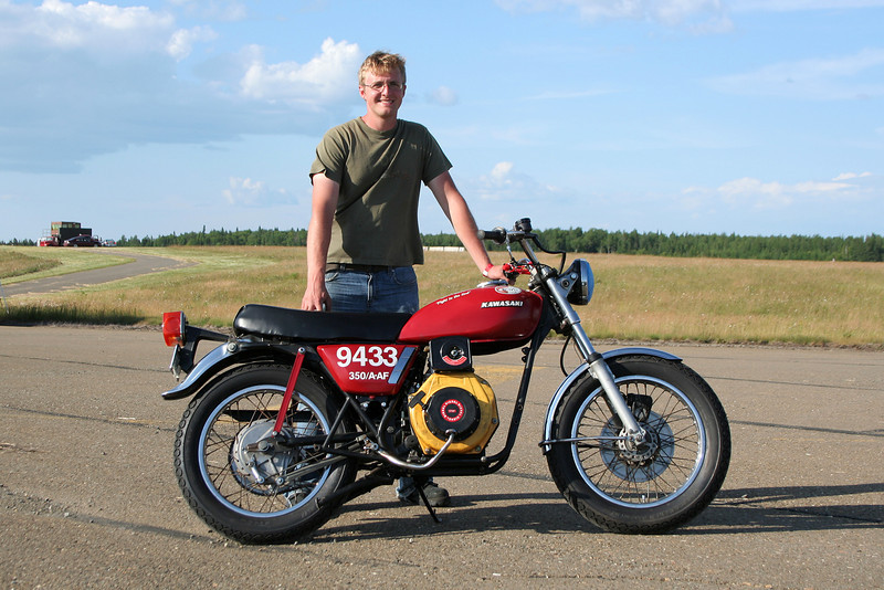 John Petsche with record-setting motorcycle