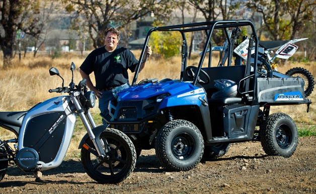 Brammo CEO with Brammo bikes and Polaris Ranger
