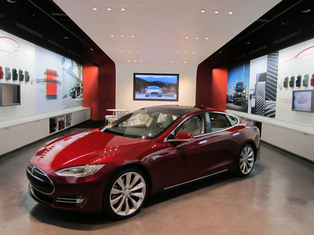 Tesla store with Model S on display