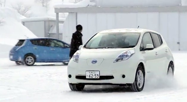 Nissan Leaf spins its front wheels on a snowy track