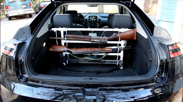 Chevrolet Volt fitted with gun rack