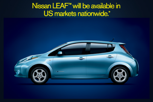 2012 Nissan Leaf availability nationwide graphic