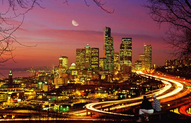 Seattle night skyline long-exposure sunset