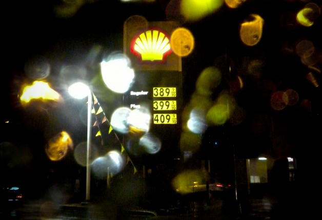 gas station in the rain