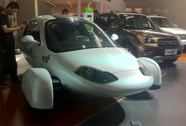 Aptera 2e on display at the Zap Jonway area of the Beijing Motor Show