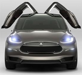 Tesla Model X with falcon doors slightly lifted