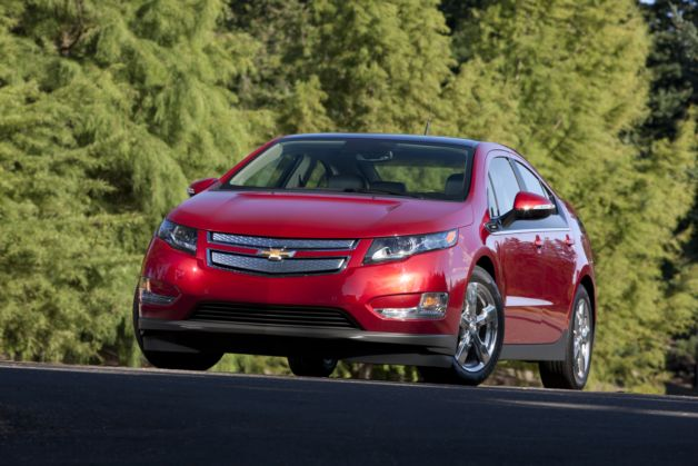 red chevy volt front three-quarter