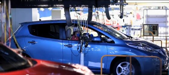 nissan leaf in factory