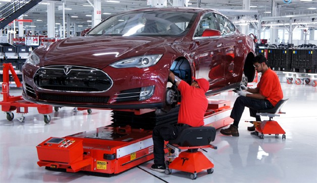 Tesla Models S being built