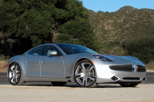 2012 Fisker Karma - silver - front three-quarter static view