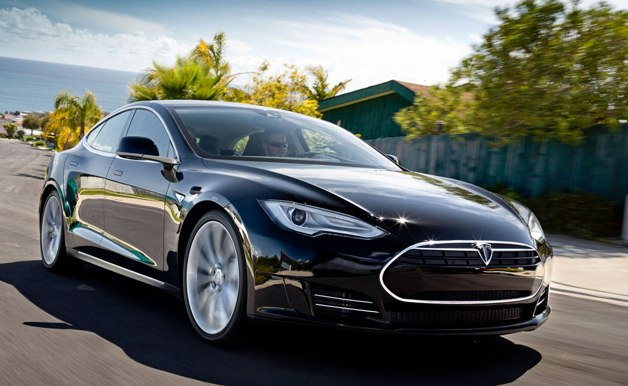 2012 Tesla Model S - front three-quarter dynamic motion shot