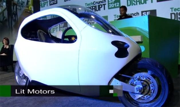 Lit Motors C-1 prototype on stage at Tech Crunch Disrupt conference