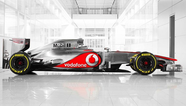 The Vodafone McLaren Mercedes MP4-27 in profile