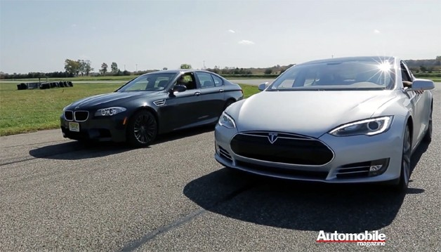 bmw m5 tesla model s drag race video