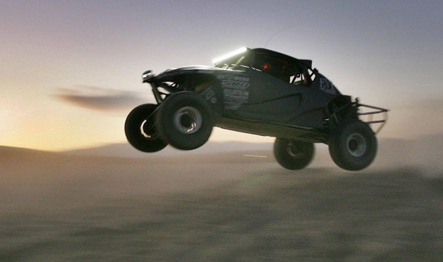 SRI EV1 baja buggy in mid-air