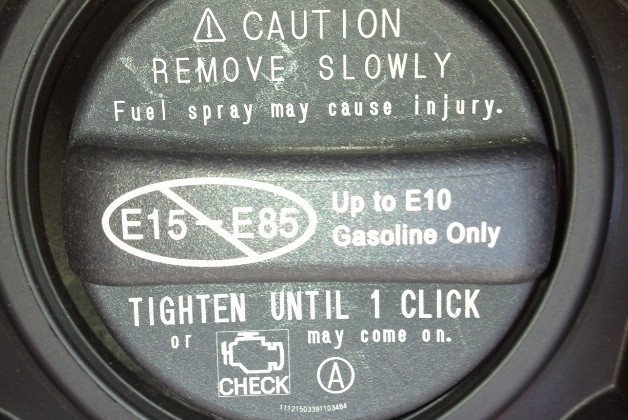 Ethanol fuel warning on cap