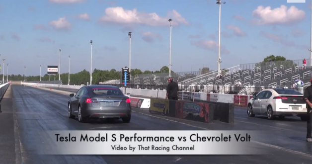 tesla model s chevy volt drag race