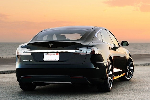 Tesla Model S - rear three-quarter view, black