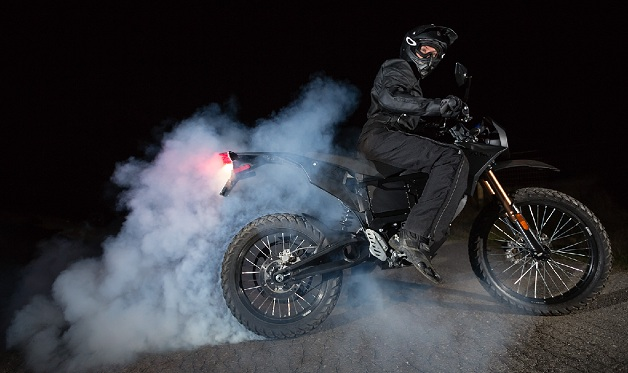 Zero FX electric motorcycle in a cloud of tire smoke