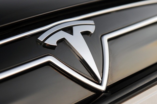 Tesla Motors logo on Model S
