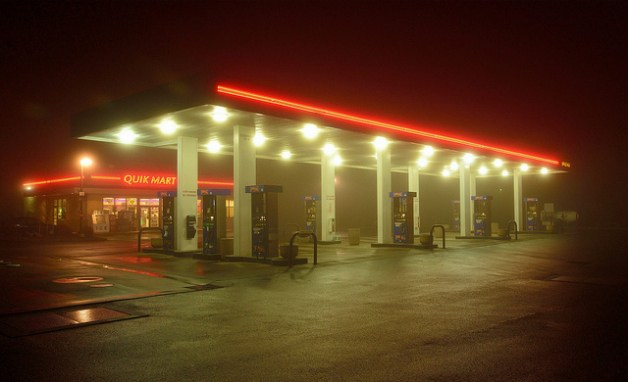 gas station in the fog