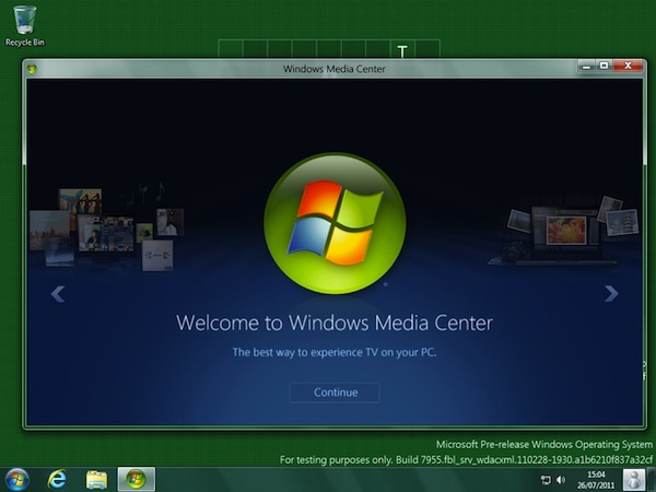 Media Center running on Windows 8