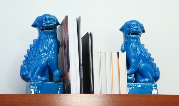 Aqua dog bookends