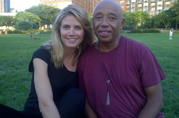 Heidi and Russell Simmons do yoga in Central Park