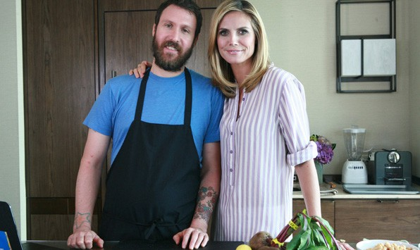 Scott Winegard and Heidi Klum making Healthy Snacks
